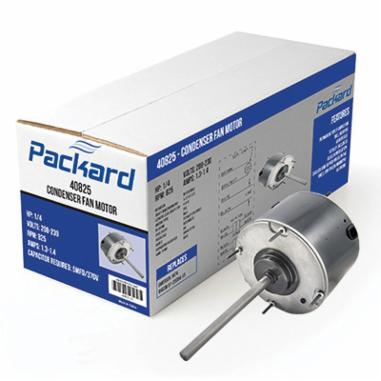 Packard 40825 Condenser Fan Motor, Enclosed Enclosure, 1/4 hp, 208 to 230 VAC, 60 Hz, 1 ph, 48 Frame, 825 rpm Speed, Extended Stud Mount