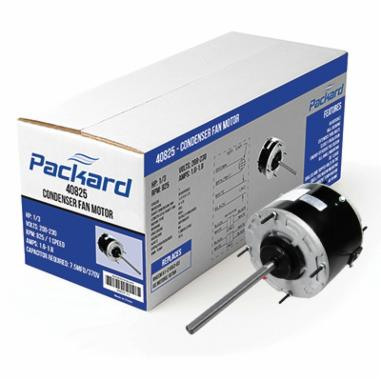 Packard 43727B Condenser Fan Motor, Enclosed Enclosure, 1/6 hp, 208 to 230 VAC, 60 Hz, 1 ph, 48 Frame, 1075 rpm Speed, Drilled/Tapped Hole Mount