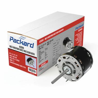 Packard 45460 Multi-Horsepower Direct Drive Blower Motor, Open Enclosure, 1/2 to 1/6 hp, 115 VAC, 60 Hz, 1 ph, 48 Frame, 1075 rpm Speed, Hole in Shell/Ring/Thru-Bolt Mount