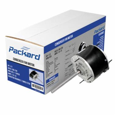 Packard 45488B Multi-Horsepower Condenser Fan Motor, Enclosed Enclosure, 1/4 to 1/8 hp, 208 to 230 VAC, 60 Hz, 1 ph, 48 Frame, 825 rpm Speed, Stud Mount