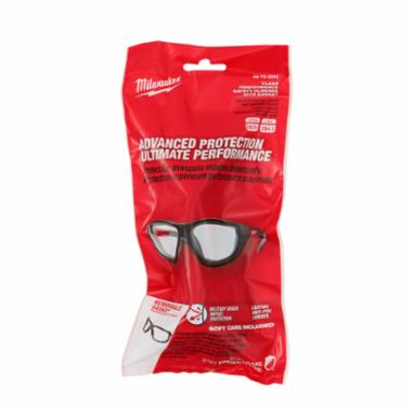 Milwaukee® 48-73-2041 High Performance Safety Glass With Gasket, Anti-Fog/Anti-Scratch/Impact-Resistant, Clear Lens, Full Frame/Wraparound Frame, Black, Plastic Frame, Polycarbonate Lens, ANSI Z87.1+